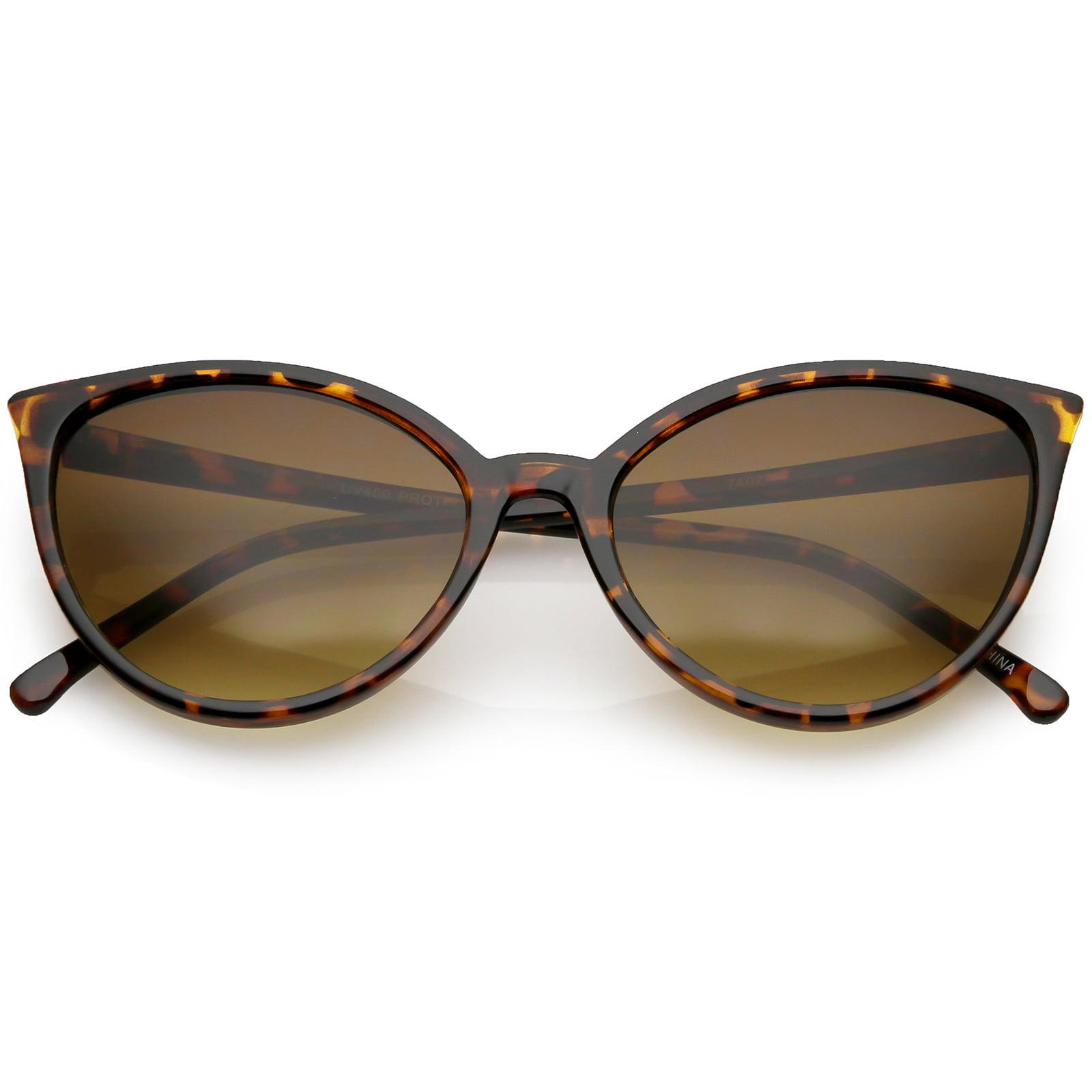 sunglassLA - Unique Cat Eye Sunglasses Slim Frame Round Neutral Colored Gradient Lens 54mm - 54mm