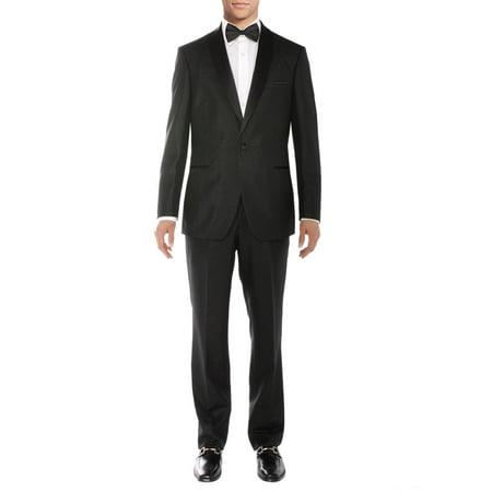 Salvatore Exte Men's One Button Tuxedo Suit Shawl Lapel Jacket Flat Front Pants Black