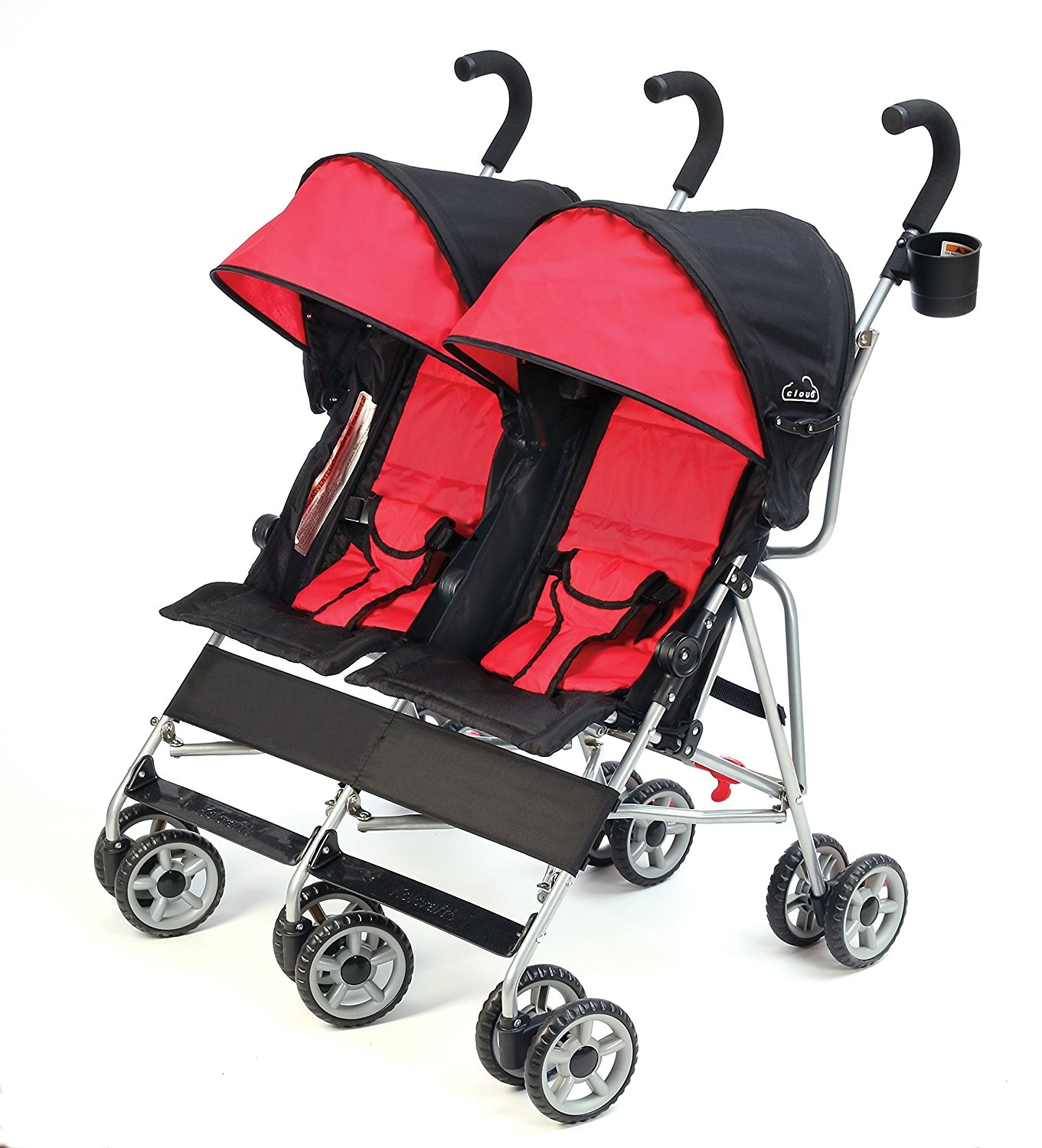 Kolcraft Cloud Side-by-Side Double Umbrella Stroller with 3-Point Safety System and Reclining Seats, Scarlet by Quality Brand