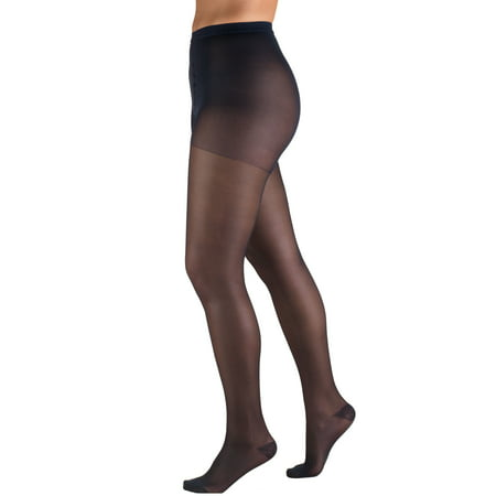 Truform Sheer Pantyhose: 15-20 mmHg, Navy, Queen (Blue Pantyhose)