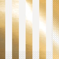 Foil Striped Paper Lunch Napkins, Gold, 16ct