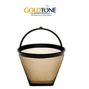 GoldTone Reusile 4 Cup #2 Cone Coffee Filter - #2 Cone Permanent Coffee Filter - Replacment #2 Cone Coffee Filter fits Cuisinart, Krups, Most other #2 Cone Coffee Makers