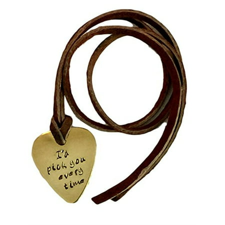Guitar Pick Necklace - I'd Pick You Every Time - Guitar and Notes Hand Stampe... - Guitar Necklaces