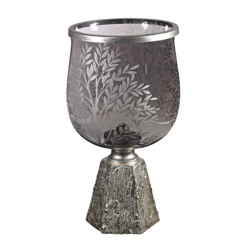 Sterling Industries 112-1131 Smoked Glass Jar with Etching on Silver Leaf Base