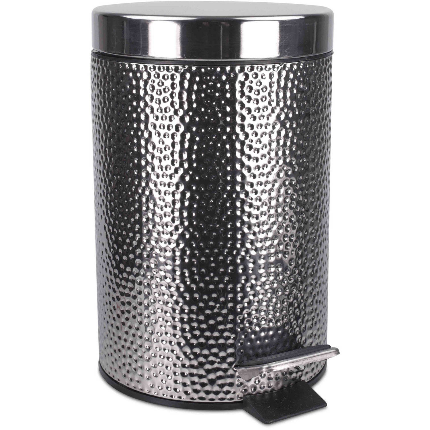 Home Basics Hammered Stainless Steel Waste Bin
