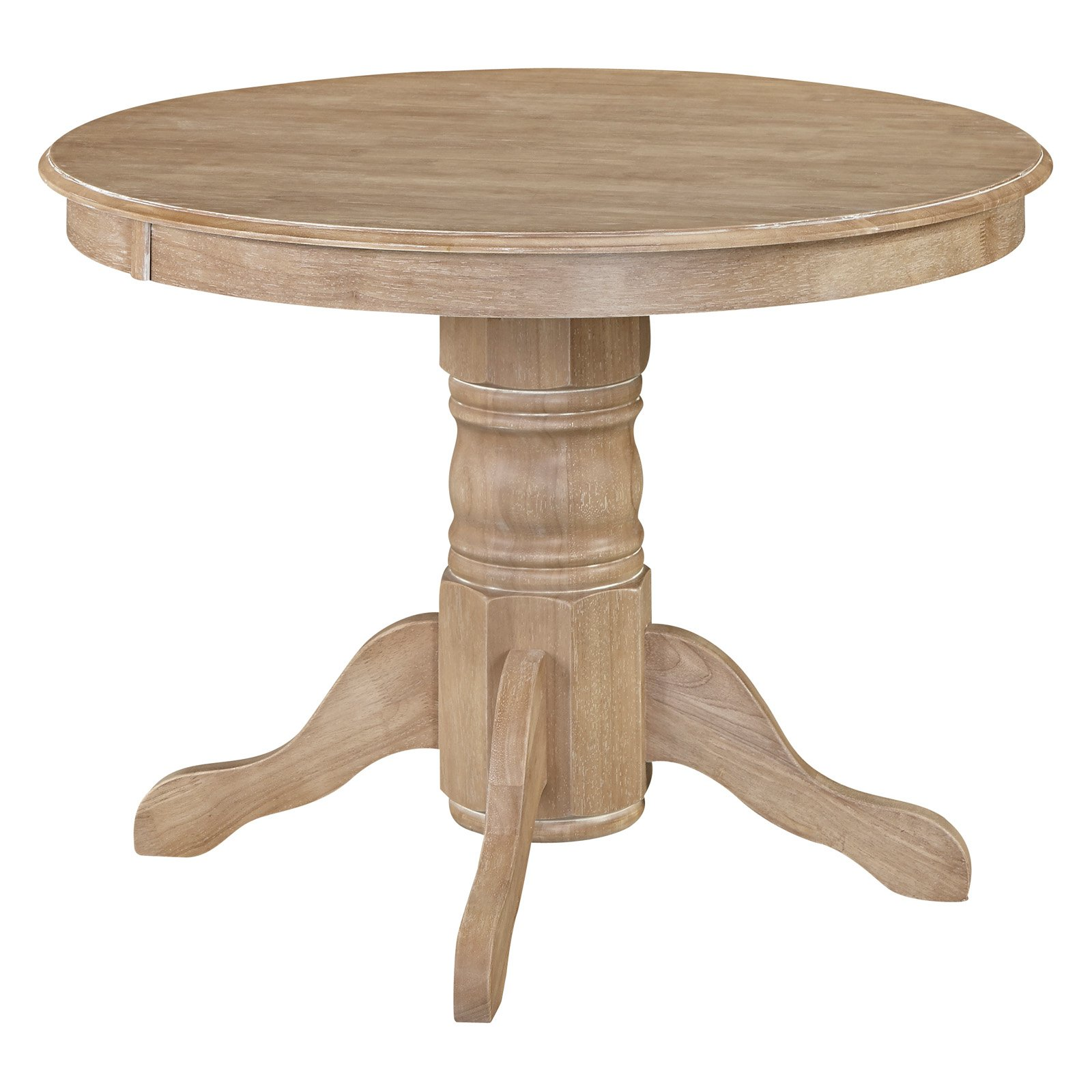 Classic Pedestal Dining Table in White Wash Finish