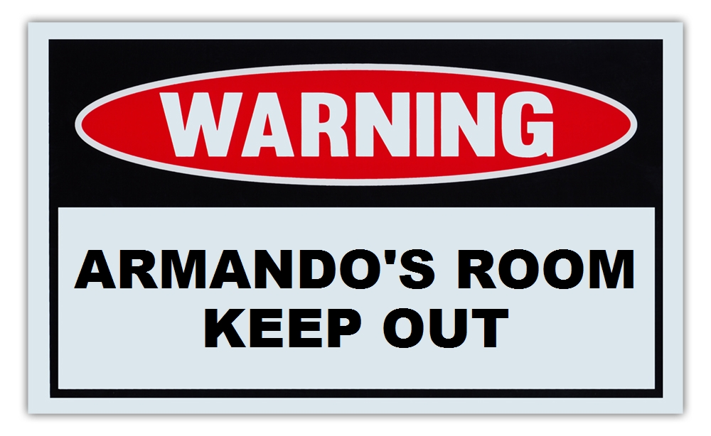 "Novelty Warning Sign: Armando's Room Keep Out For Boys, Girls, Kids, Children Post on Bedroom Door 10"" x 6""... by Crazy Sticker Guy"