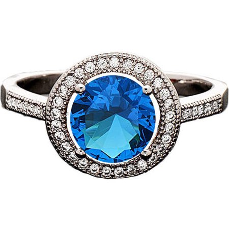 Pori Jewelers Swarovski Elements 14kt White Gold-Plated Heart-Cut December Blue Zircon Ring