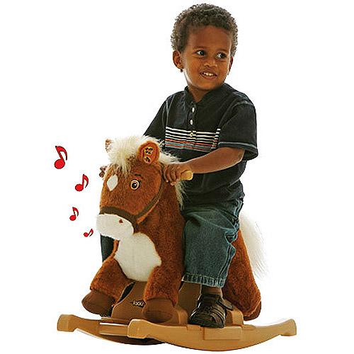 Tek Nek Toys Rockin' Rider Pony Rocker Animated Plush Rocking Horse,