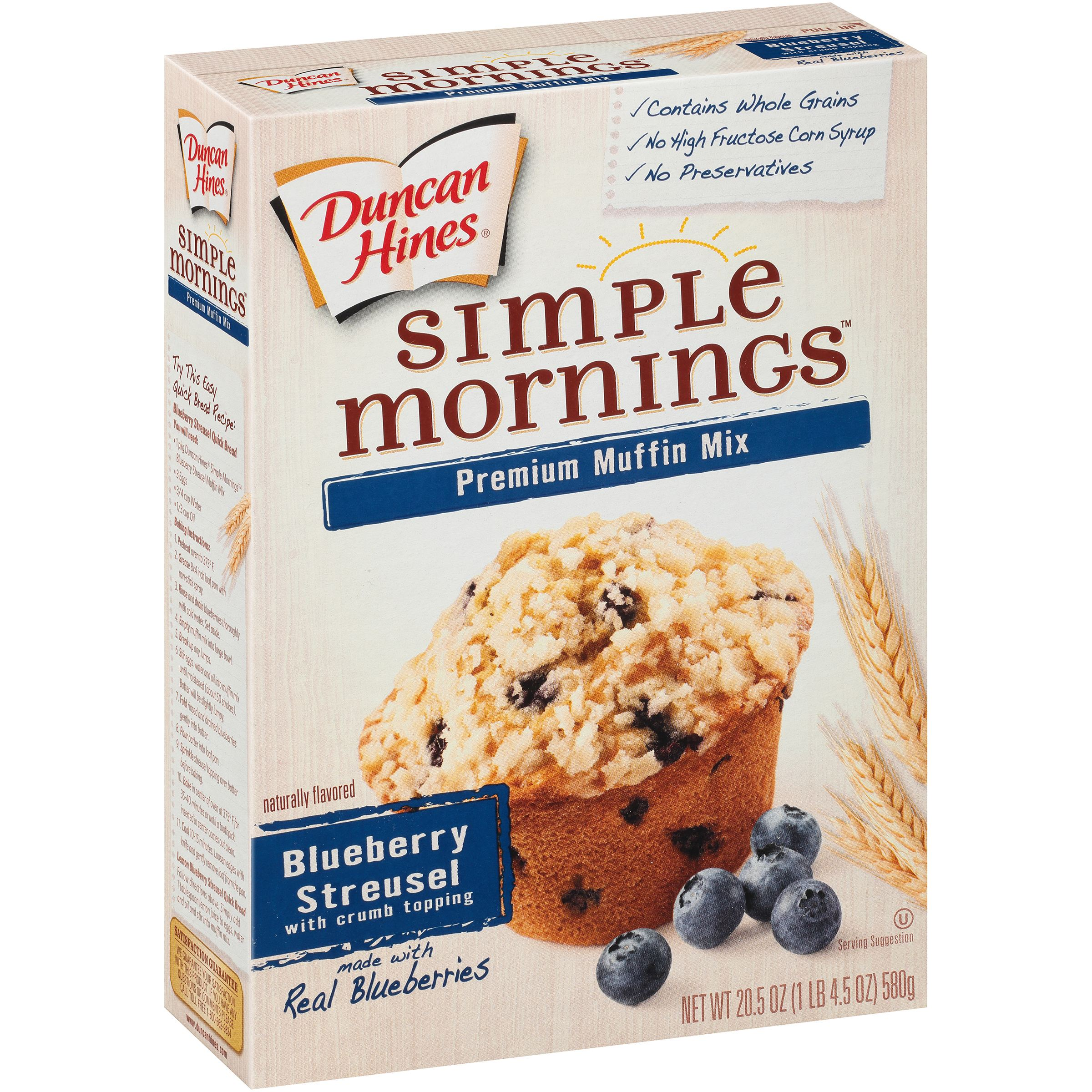Duncan Hines Simple Mornings Premium Muffin Mix Blueberry Streusel, 20.5 OZ by Pinnacle Foods Group LLC