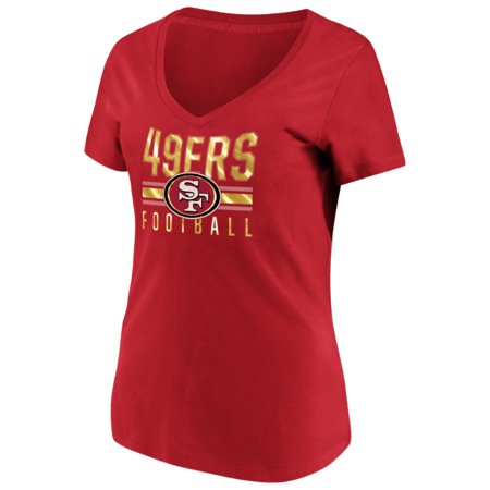 Women's Majestic Scarlet San Francisco 49ers Game Day Style V-Neck T-Shirt - Events On Halloween In San Francisco