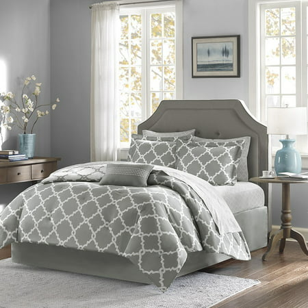 California King Toile Comforter - Empire Home Modern 11-Piece Comforter Set Bed in a Bag (Gray, California King Size)