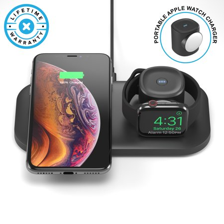 ONEDock FUSE (MFi Certified) Dock w/Portable Apple Watch Charger Power Bank & Built-in 7.5A Qi Certified Fast Wireless Charging Pad, Made for Apple Watch Series 4,3,2,1 and XS, XS Max, XR, X, 8/8 (Fast Charging Power Bank For Note 5)