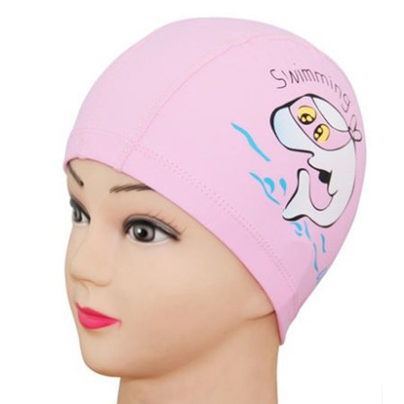 Unisex Children Kids Breathable Swimming Hat Waterproof Hair Care Ear Protection Swim Cap Cartoon Dolphin Patterns (Pink) ()