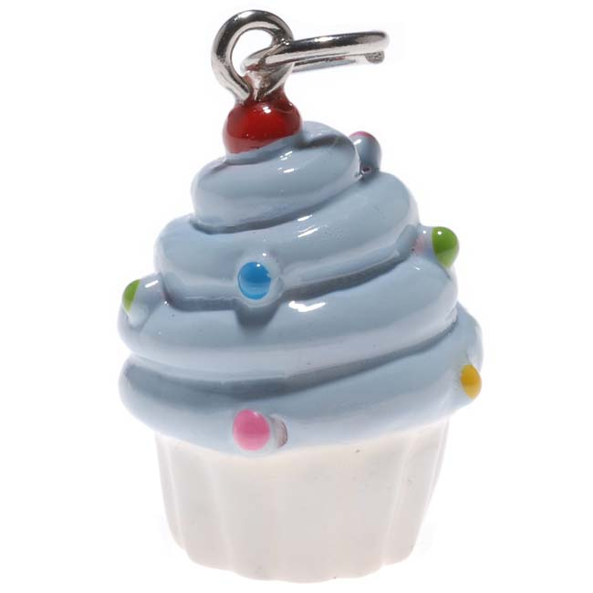 Hand Painted Charm Large Blue And White Cupcake With Sprinkles 23mm (1)