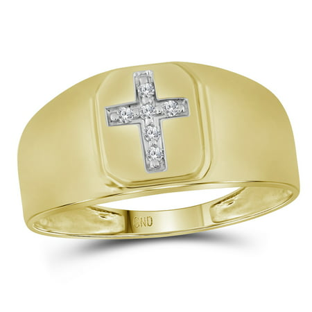 10k Yellow Gold Mens Natural Round Diamond Christian Cross Brushed Fashion Ring (.50 cttw.) size- 8.5