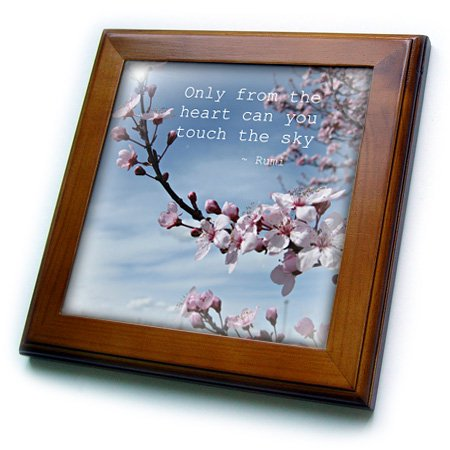 3dRose Inspirational Zen Cherry Blossom Rumi Floral Wisdom Quotes - Framed Tile, 6 by 6-inch