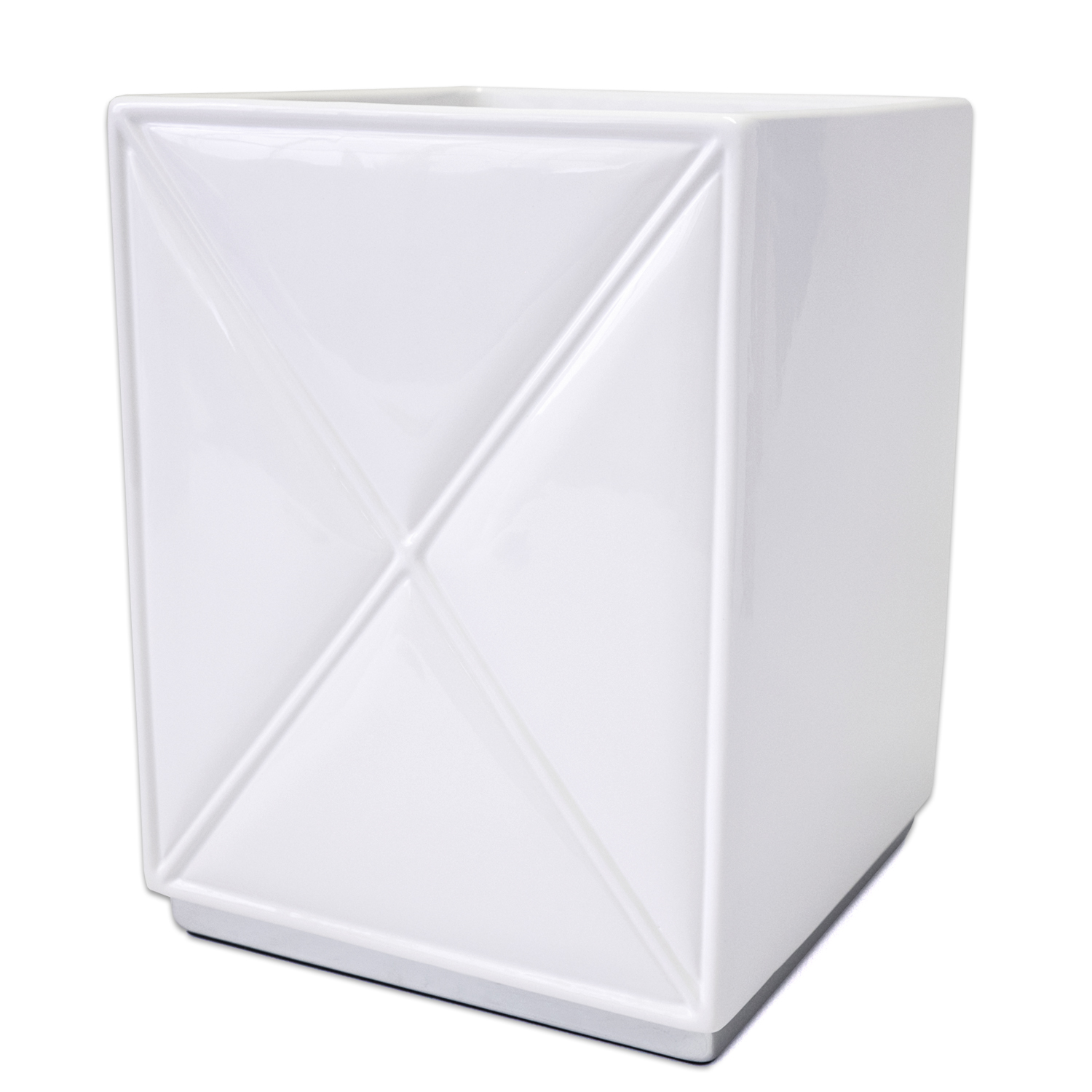 Popular Bath Quilt Accessory Collection White Chrome Ceramic Wastebasket by Popular Bath Products