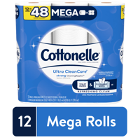 Cottonelle Ultra CleanCare Toilet Paper, 12 Mega Rolls (=48 Regular Rolls)