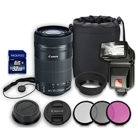 Canon EF-S 55-250mm IS STM Lens + Rubber Lens Hood + Lens Cap + Lens Bag + 3 PC Filter Kit + Flash + Memory Card + Cap Keeper (Flash Card Rubber Bands)