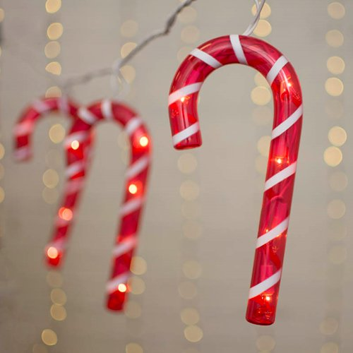 Novelty String Lights Christmas Candy Canes Outdoor White Wire 5 Ft Plug In