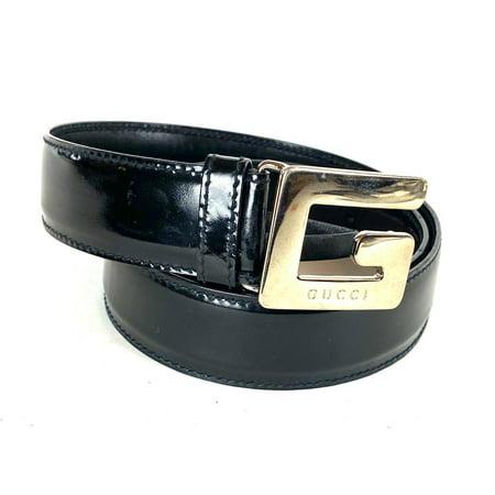 Gucci GG Logo Black Patent Belt 20ga529