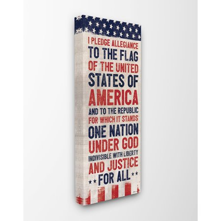 The Stupell Home Decor Collection Pledge of Allegiance Red White and Blue Flag Banner Stretched Canvas Wall Art, 10 x 1.5 x 24 ()