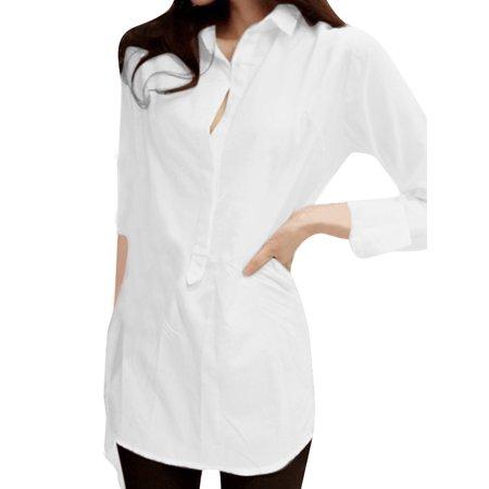 Women's Point Collar Pullover Irregular Hem Long Sleeve Tunic Blouse