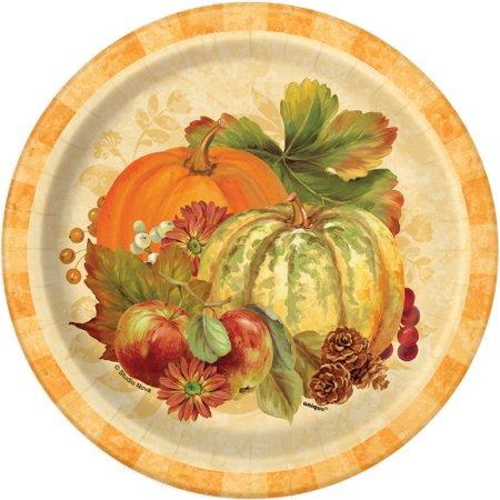 Pumpkin Harvest Fall Paper Plates, 7 in, 8ct