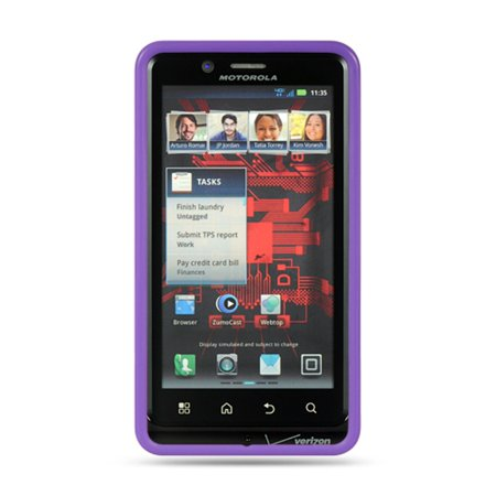 Motorola Droid Bionic case, by Insten Rubber TPU Clear Case Cover For Motorola Droid Bionic XT875 Targa, Purple - image 2 de 3