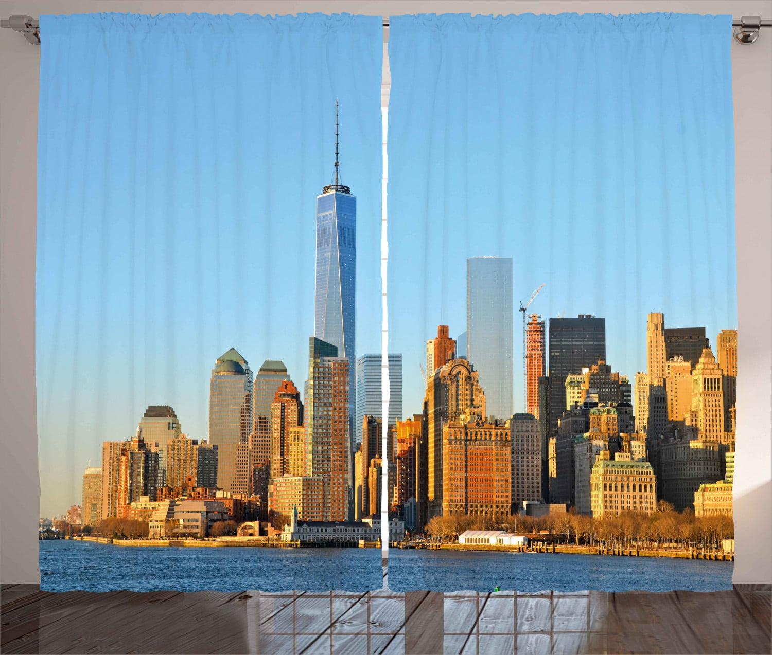 Landscape Curtains 2 Panels Set New York City Skyline Usa Landmark Buildings Skyscrapers Modern Urban Life Window Drapes For Living Room Bedroom 108w X 96l Inches Pale Blue Orange By Ambesonne