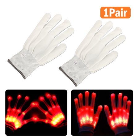 LED Flashing Gloves Glow 3 Mode Light Up Finger Tip Lighting Pair Rave