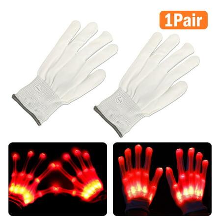 LED Flashing Gloves Glow 3 Mode Light Up Finger Tip Lighting Pair Rave Party