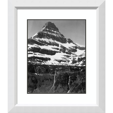 Amanti Art Framed Art Print 'Snow Covered Mountain Glacier National Park, Montana - National Parks and Monuments, 1941' by Ansel Adams White