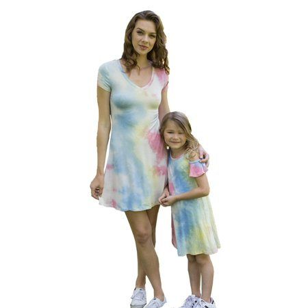 Little Girls Blue Cold Shoulders Tie-Dye Summer Dresses