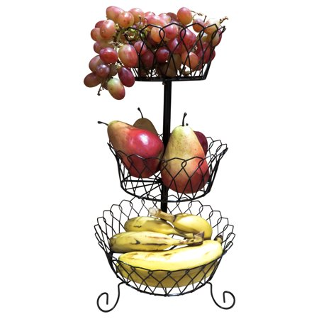 Evelots 3 Tier Fruit/Veggie Basket-Kitchen Counter Top-Sturdy Metal-3 Baskets