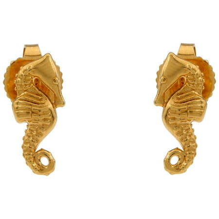 SEAHORSE 14K Gold Plated POST EARRINGS New