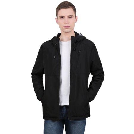 Sleeve Funnel Neck Jacket - Unique Bargains Men's Funnel Neck Zip Up Pockets Drawstring Hooded Waterproof Jacket