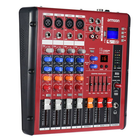 ammoon Digital 4-Channel Mic Line Audio Mixer Mixing Console 2-band EQ with 48V Phantom Power USB Interface for Recording DJ Stage Karaoke Music Appreciation
