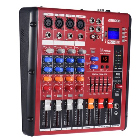 ammoon Digital 4-Channel Mic Line Audio Mixer Mixing Console 2-band EQ with 48V Phantom Power USB Interface for Recording DJ Stage Karaoke Music