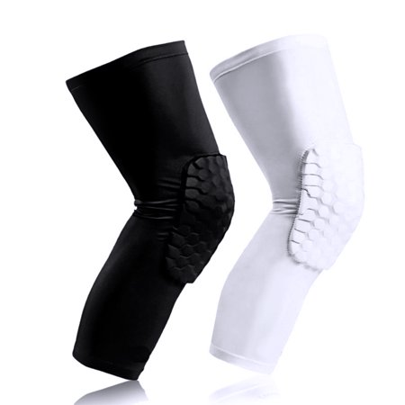 Sports Knee Pad-Honeycomb Knee Pad-RUNACC Honeycomb Knee Pad Anti-slip Basketball Leg Long Sleeve Ergonomic Knee Protector, Suitable for Right and Left Leg, White,