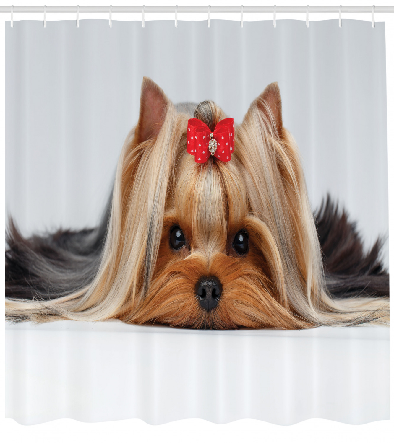 Yorkie Shower Curtain Lying Yorkshire Terrier With Cute Ribbon Yorkie Love Portrait Of A Dog Fabric Bathroom Set With Hooks Pale Caramel Sand Brown By Ambesonne Walmart Com Walmart Com