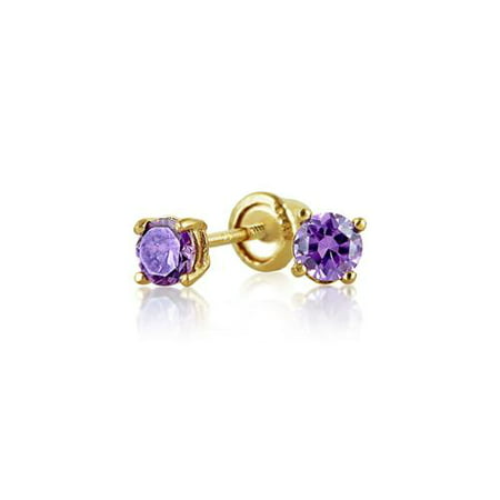 Bling Jewelry Simulated Amethyst CZ Baby Screwback Studs 14K Gold 3mm (Toddler Jewelry)