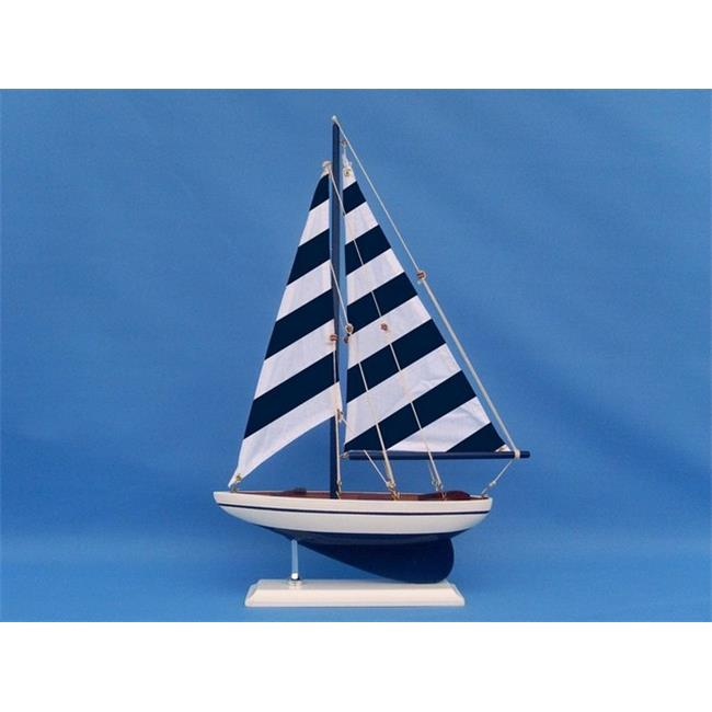 Handcrafted Decor ps-blue stripe 25 Wooden Blue Striped Pacific Sailer Model Sailboat Decoration, 25 in. by Handcrafted Decor