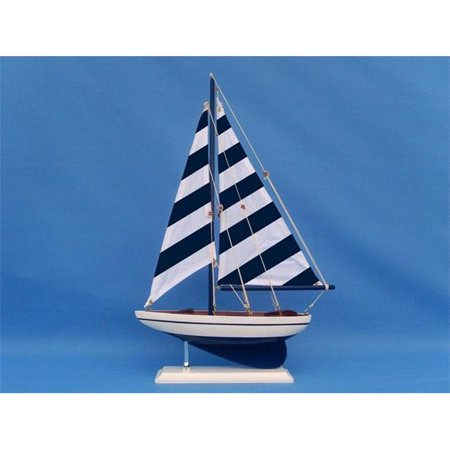 Handcrafted Decor ps-blue stripe 25 Wooden Blue Striped Pacific Sailer Model Sailboat Decoration, 25 in. - Boat Decorations