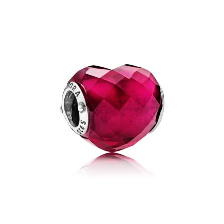 Faceted Heart Charm (Heart silver charm w/faceted fuchsia rose crystal Charm)