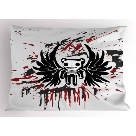 Halloween Pillow Sham Teddy Bones with Skull Face and Wings Dead Humor Funny Comic Terror Design, Decorative Standard Queen Size Printed Pillowcase, 30 X 20 Inches, Pearl Black Ruby, by - Halloween 30 Years Of Terror Comic Book