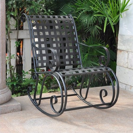 Iron Rocker - International Caravan Mandalay High Back Iron Patio Rocker in Black