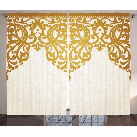 Antique Decor Curtains 2 Panels Set, Victorian Style Medieval Motifs With Classic Baroque Oriental Decorating Shapes Print, Living Room Bedroom Accessories, By