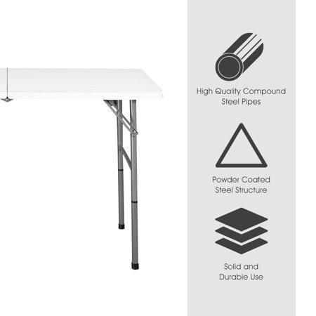 COSTWAY Table Pliante de Camping Robuste 122 x 61 x 72 cm Table de Jardin  Blanc en Acier et Plastique